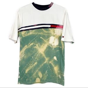 Up Cycled Tommy Hilfiger Bleach Tie Dyed T-Shirt